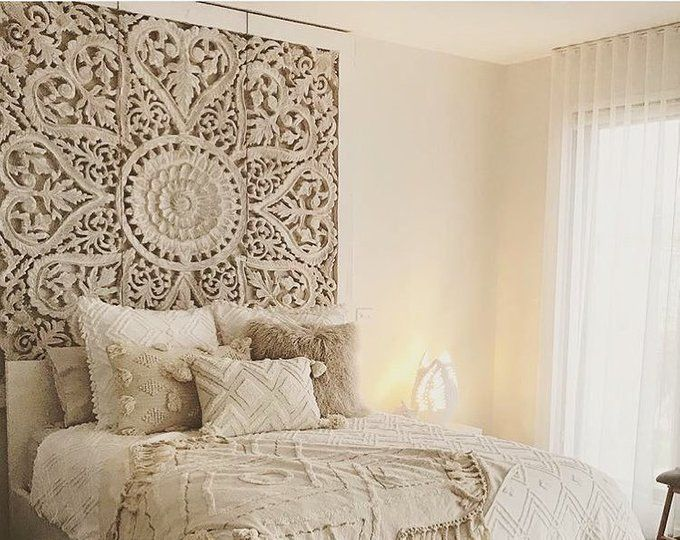 Lotus Wood Wall Art Panel Queen Hand Carved Bed Headboard