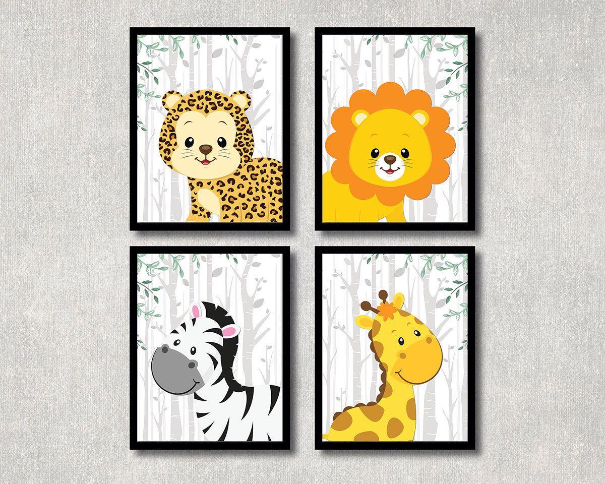 Safari animals set nursery printable jungle theme children wall