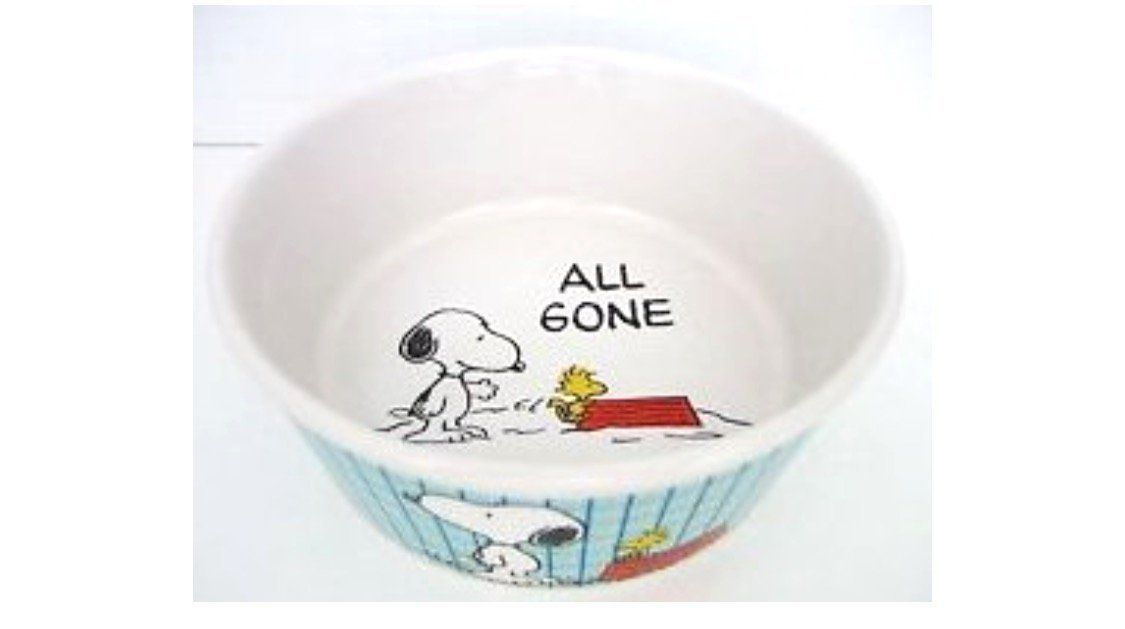Peanuts Snoopy All Gone Dog Food Bowl Heavy Stoneware Pet Dish