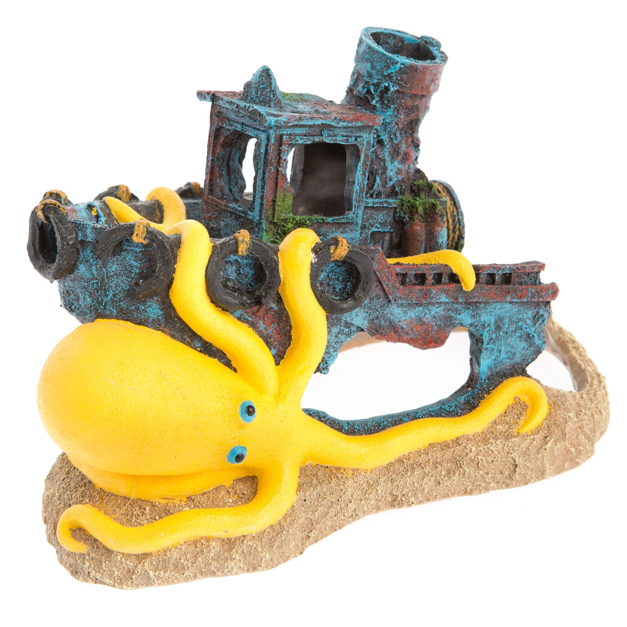 Top Fin Sunken Boat with Octopus Aquarium Ornament