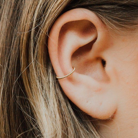 Single Ear Cuff 14 Ct Gold-Filled Twisted Conch Ear Cuff Simple Earcuff Fake Piercing, Ear Cuff Fake Cartilage Earring No Piercing