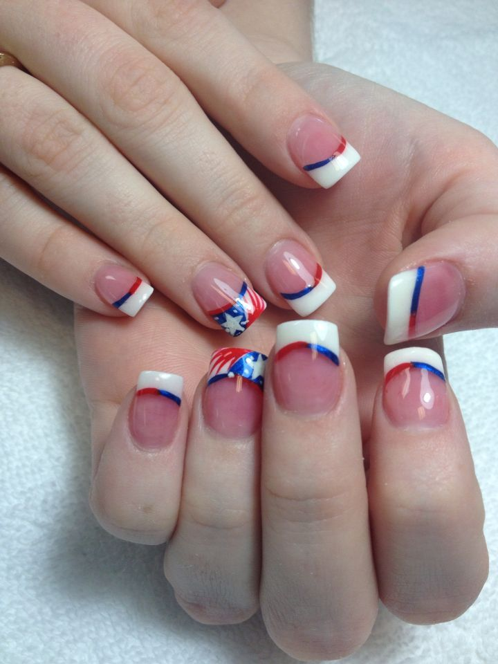 Red, white & blue Fourth of July solar nails From Friendly Nails ...