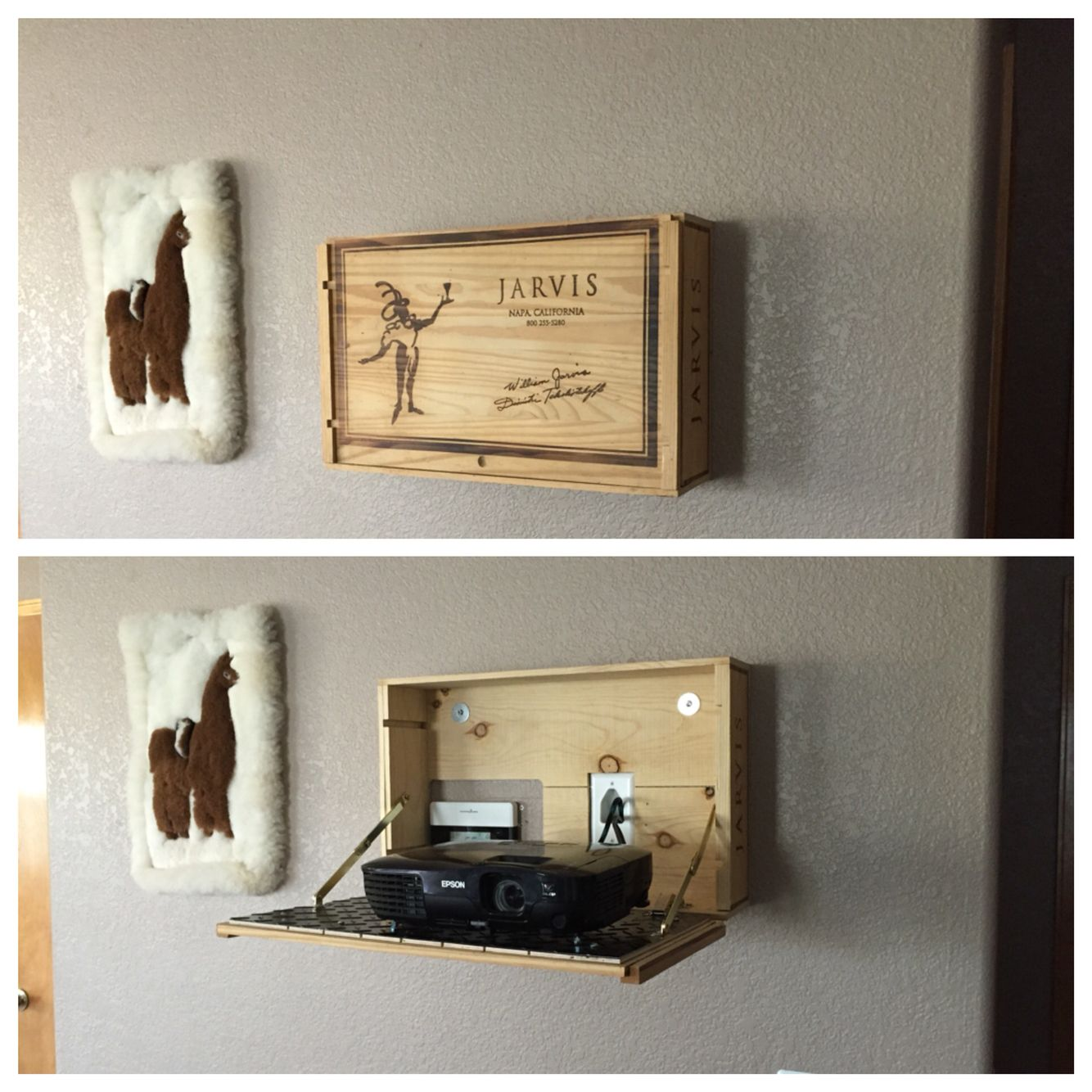 Theater Room With Hidden Projector: I Took An Old Wine Bottle Case And Converted It Into A