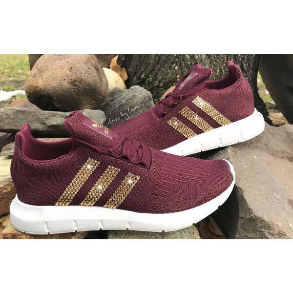 472cc11ff Swarovski Adidas Swift Run Shoes Red Wine ( 150) ❤ liked on Polyvore  featuring shoes