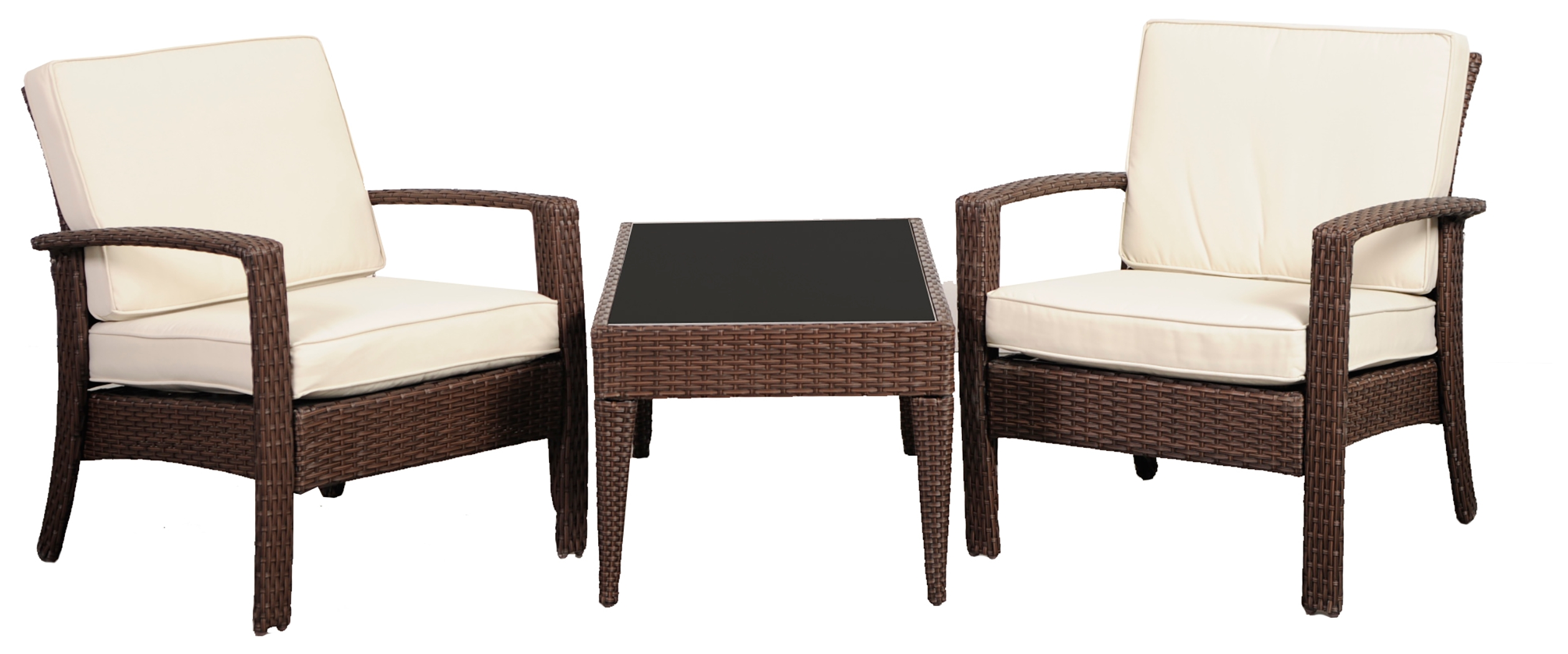 Wicker Wicker 3 Piece Conversation Set Brown White Furniture Home