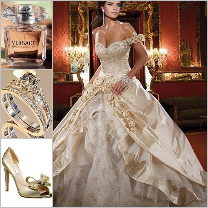 White And Gold Wedding Sweetheart Corset Ballgown Dress Http Bridal