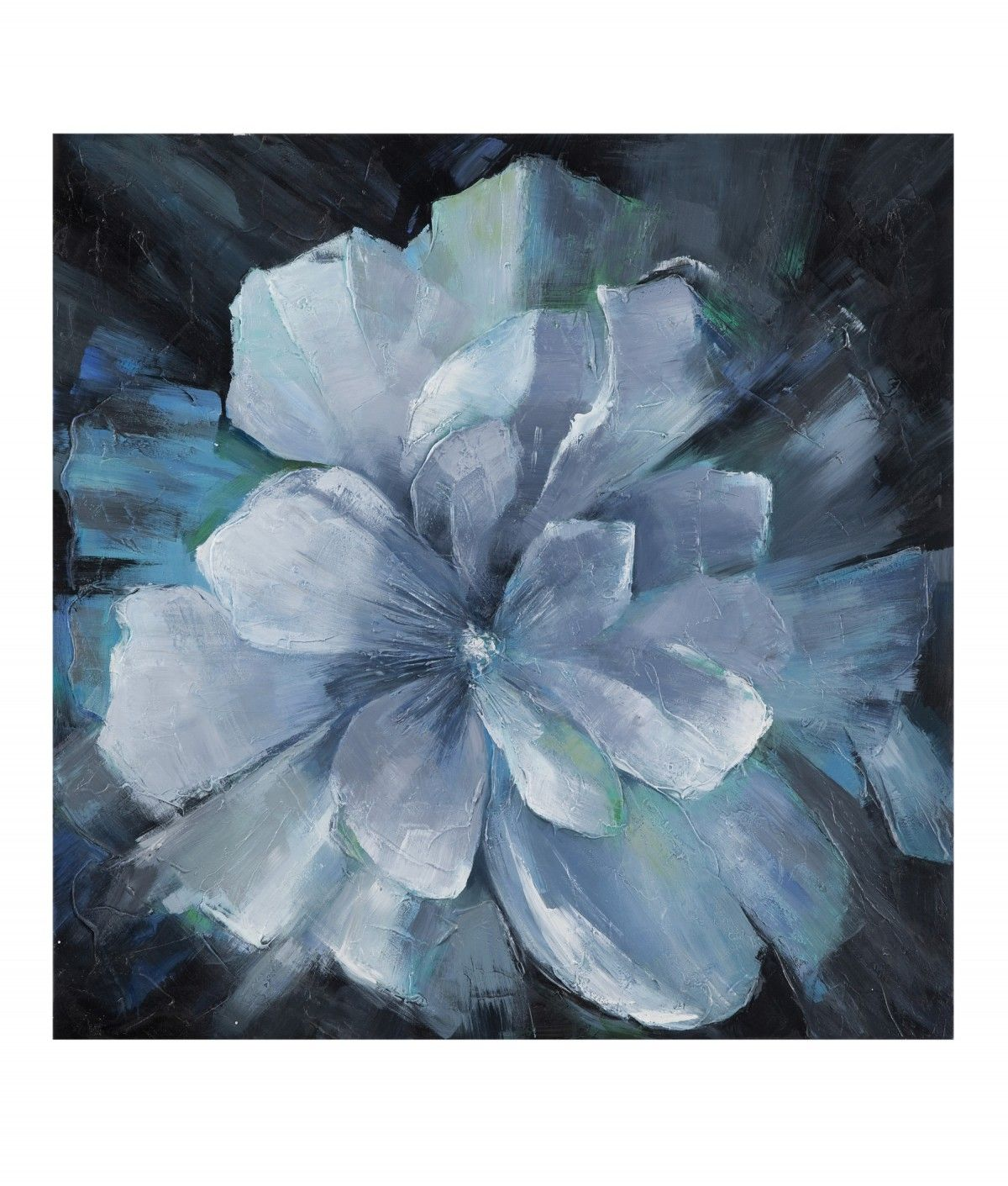 This blossom explodes in vivid silvery blues. Oil and acrylic on canvas. #art