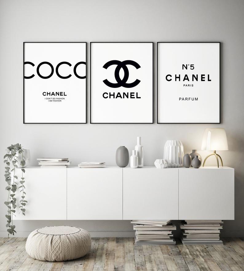 Set Of 3 Chanel Wall Art Prints Chanel Logo Print Coco Etsy Fashion Wall Art Bedroom Decor Chanel Wall Art Interior Design Bedroom Small