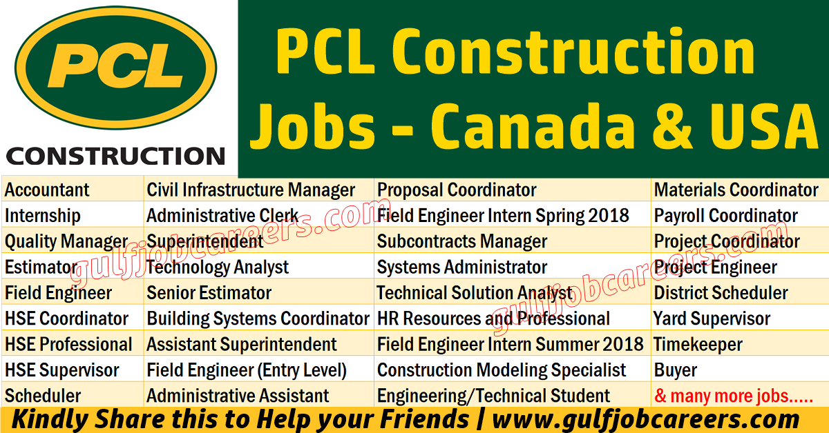 PCL Construction Jobs at Canada and USA | Job Search Oil