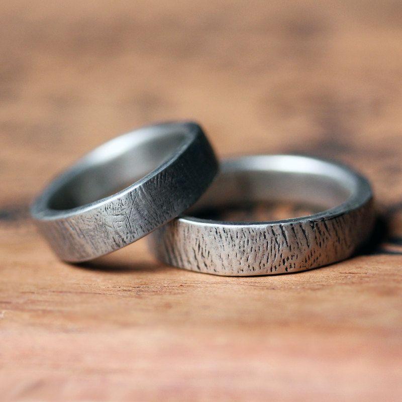 Silver Bark Rings Wedding Band Set Rustic Wedding Recycled Sterling Silver Mens Wedd Rustic Wedding Rings Set Cool Wedding Rings Wedding Ring Bands Set