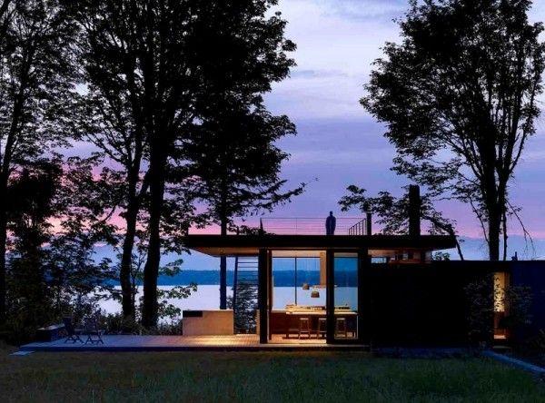 Elegant Modernes Haus Im Wald Mit Glasfassade
