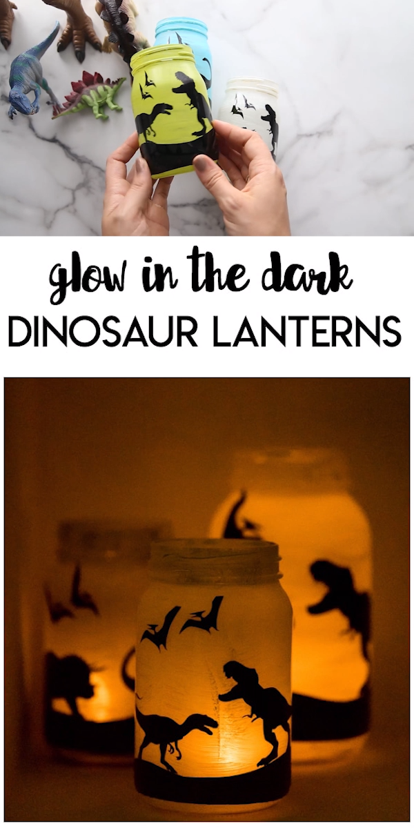 Glow in the Dark Dinosaur Lanterns: a fun glow in the dark craft any dinosaur loving kid will love! Personalized with their favorite colors and dinosaurs it's a fun decor piece they can enjoy in their room.
