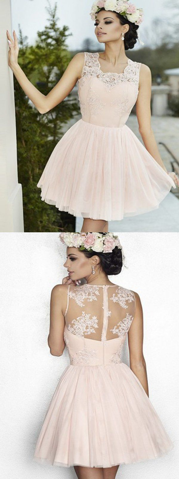 Pink see through lace dress  Cute Light Pink Lace Homecoming DressElegant See Through Back