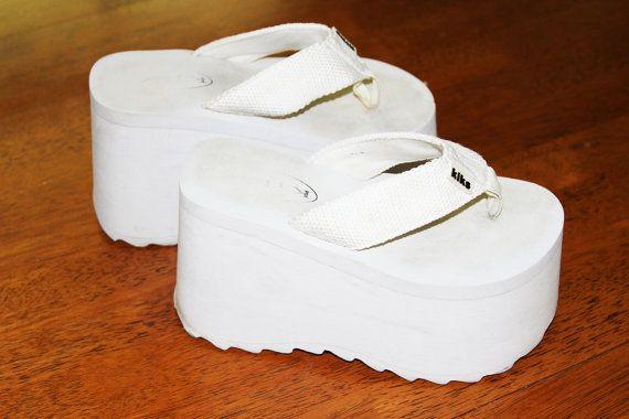 90s Mega Platform White Foam Sandals | Sandals, Baby shoes