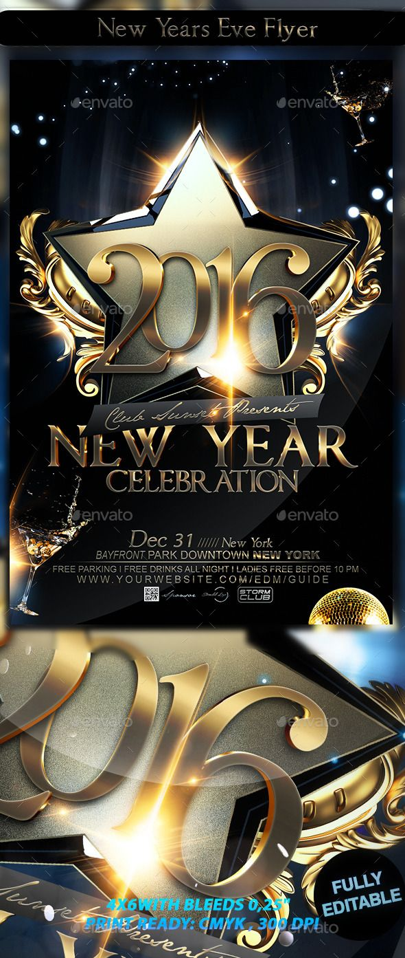 New Years Eve Flyer Template design Download http