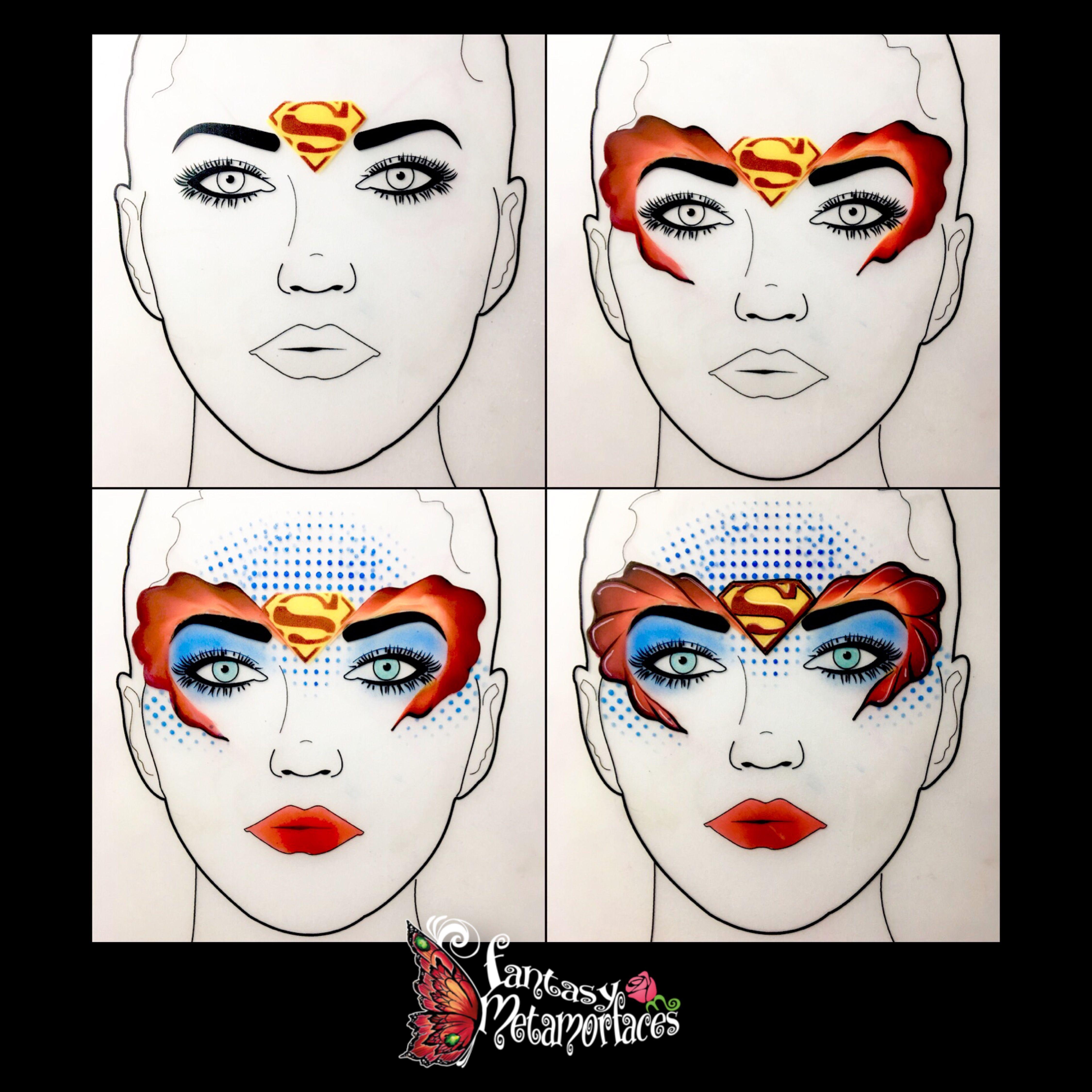 Super Woman Super Man Face Paint Design Face Painting Designs Girl Face Painting Superhero Face Painting