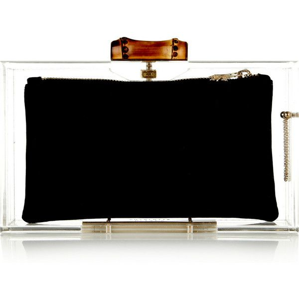 Charlotte Olympia Pandora Bamboo Perspex clutch ($895) ❤ liked on Polyvore