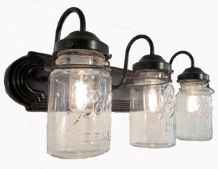 Rustic Bathroom Light Fixtures mason jar bathroom light vintage quart trio | bathroom mason jars