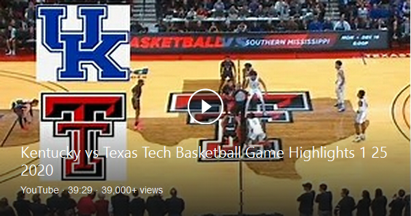Kentucky vs Texas Tech Basketball Game Highlights 1 25