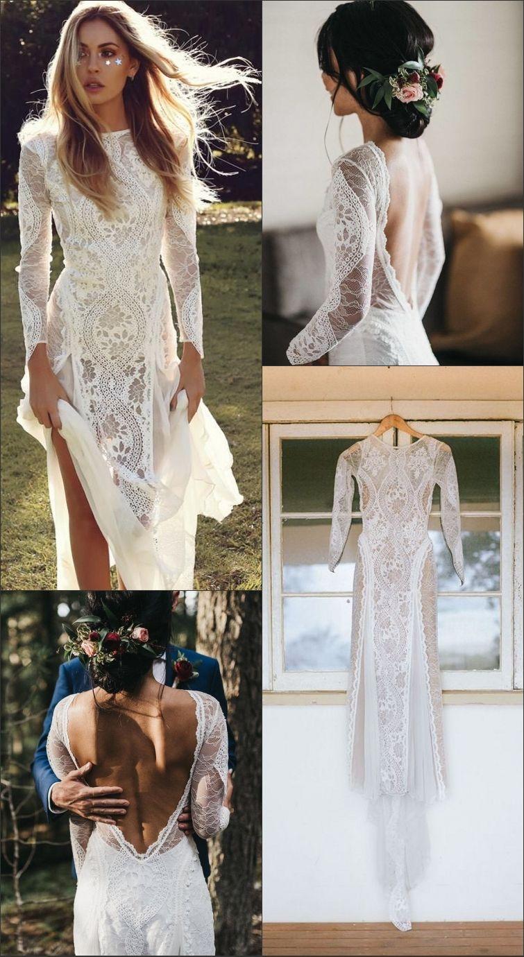 d888a38e39 A-Line Bateau Long Sleeves Backless Chiffon Wedding Dress with Lace