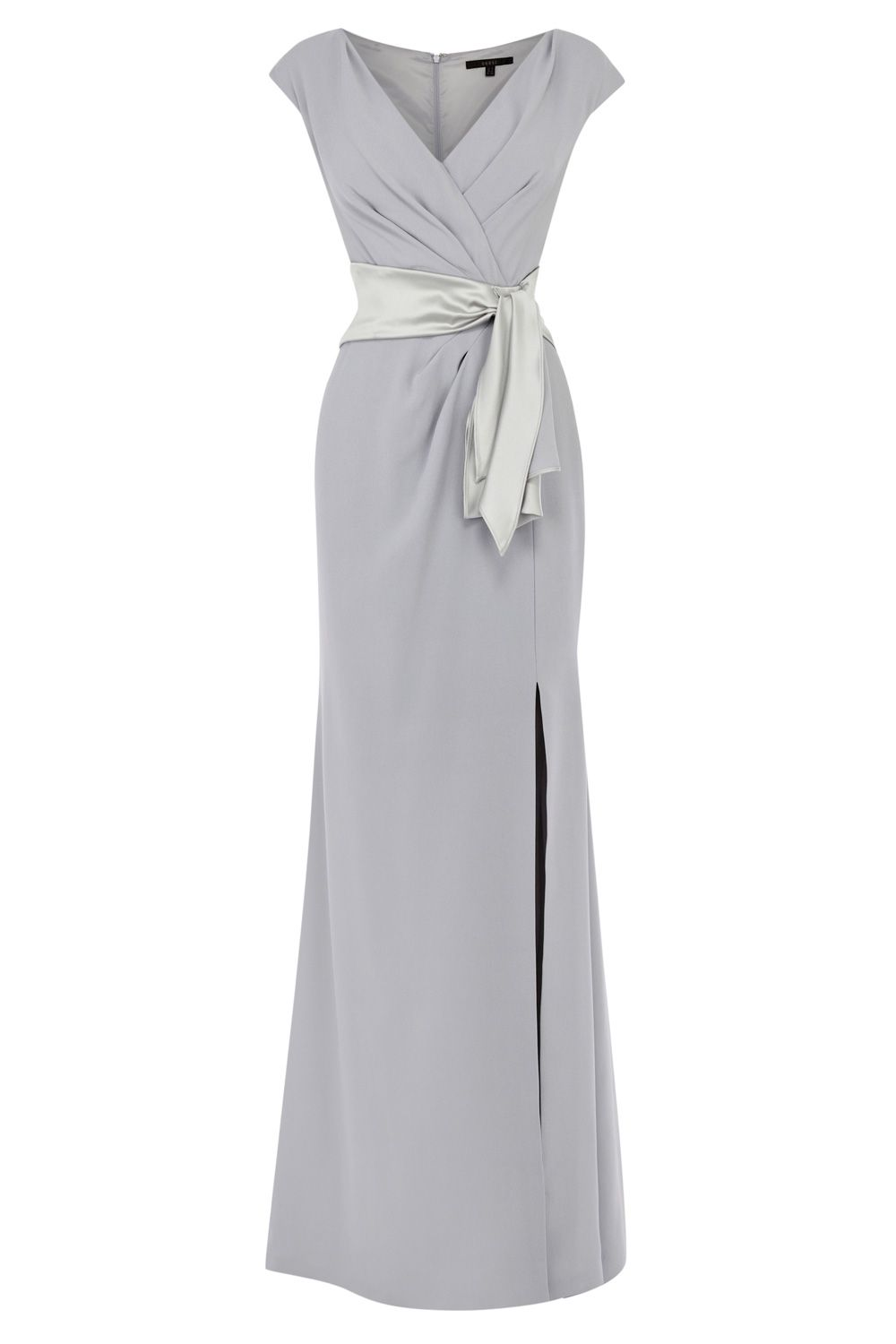 A beautifully graceful gown tailored with a split skirt making for a confident look. The Kate Sleeved Maxi Dress features a chic wrap-style bust cinched with a luxurious adjustable waist tie. The pretty three quarter sleeves provide just the right amount of arm coverage. Tailored to cinch you in at the waist, and skim over your hips whilst lengthening your silhouette. Dress length from underarm to hem is 137cm/54 inches and is fully lined for effortless wearing and ease of movement.
