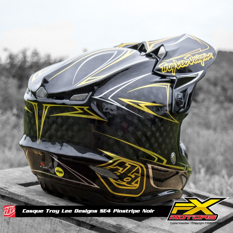 Casque Cross Tld Se4 Carbon Pinstripe Black Helmets Troy Lee