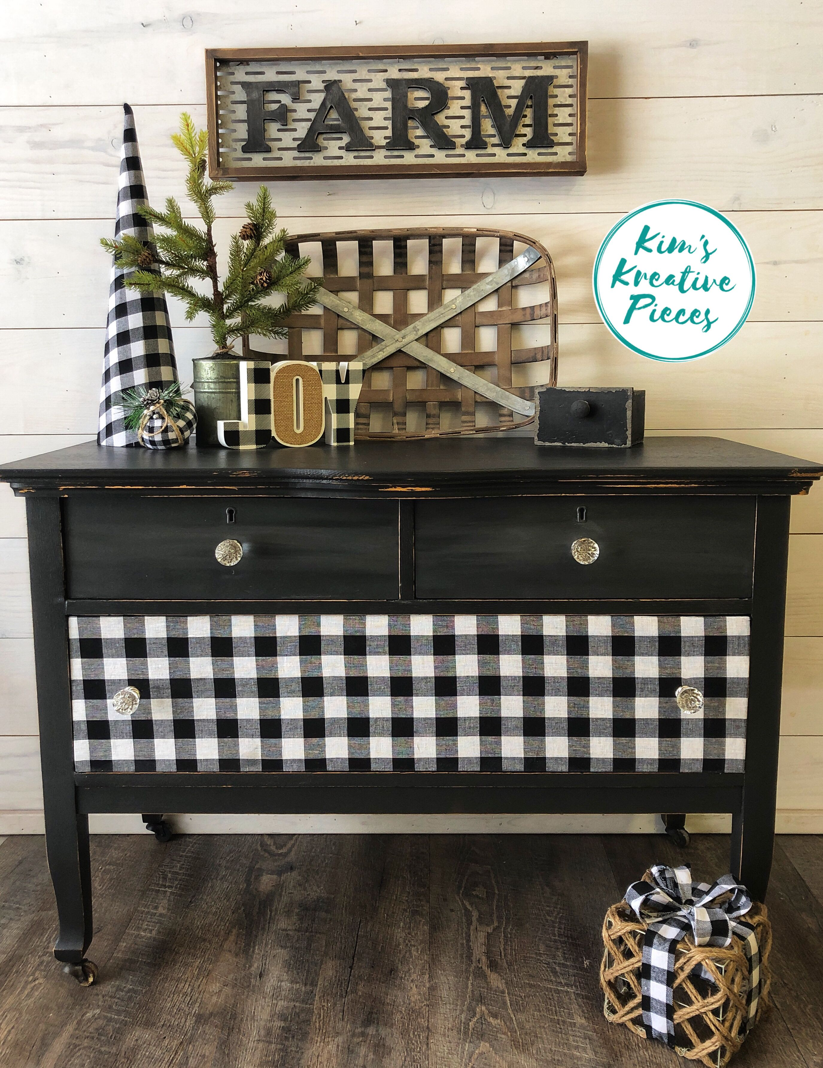 This Was Done In Black The Top Drawers Have A Touch Of Gray The The Buffalo Plaid Fabric On The Front Plaid Living Room Buffalo Plaid Decor Flipping Furniture