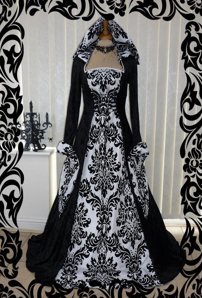 Medieval Handfasting Gothic Hooded Dress Black Amp White