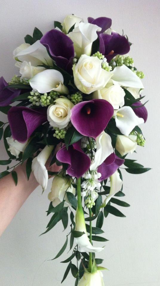 Calla Lily Brides Shower Bouquet Wedding Flower Guide Purple