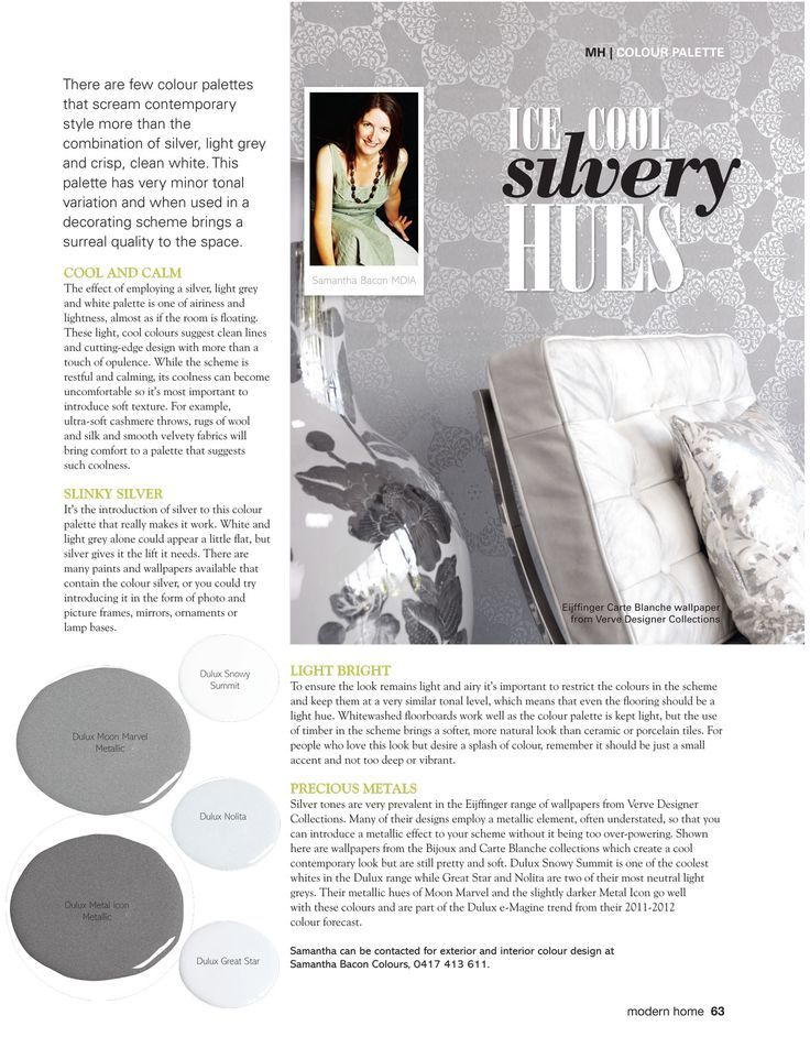 Modern home magazine how to use silver in your decorating scheme also silvery hues living room interior design rh pinterest