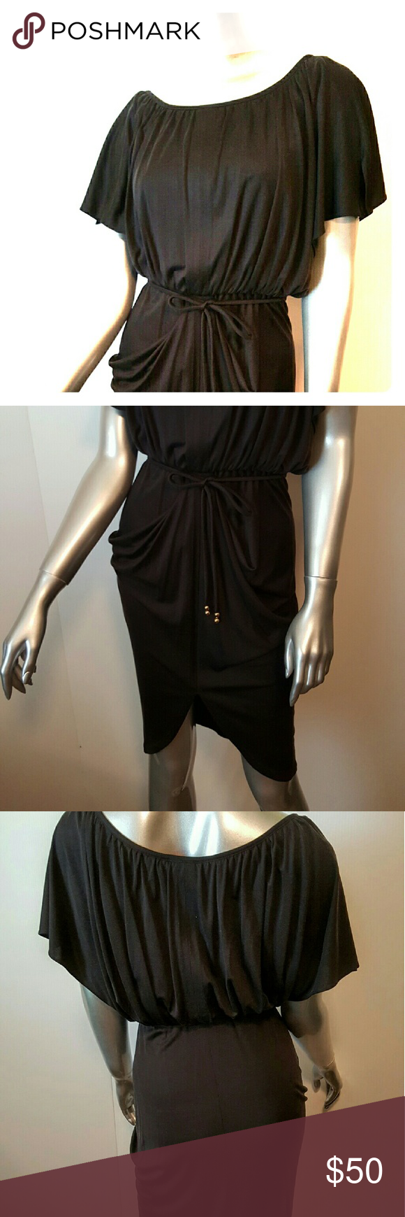 """YOANA BARASCHI for Anthropologie Silk Dress Sz XS Stunning Dress!   Prestine condition-maybe worn once   Blouson style   Elasticized waist with belt detailed with 2 gold beads at ends   Beautiful Grecian draped bottom   Fabrication- 100% Silk  Color- True Black   Measurements- Chest =31""""Waist=12""""   Feel free to contact me with any questions or concerns prior to purchase   Thank you for looking in my closet! kostkutter Anthropologie Dresses"""
