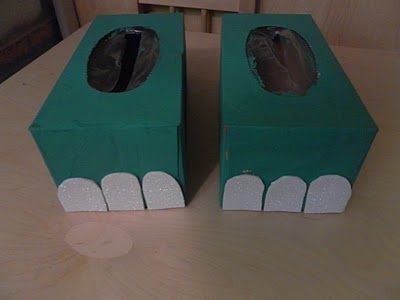 dinosaur feet from kleenex boxes plus lots of great ideas