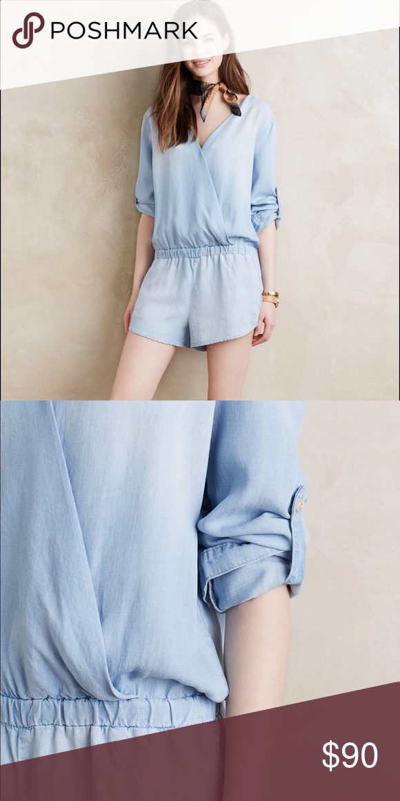 03400f634e0e Surplice Chambray Romper by Cloth   Stone