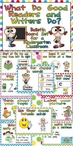"""Just Add Border!!! This packet has everything you need to create a """"What Do Good Readers and Writers Do?"""" bulletin board in your kindergarten classroom. $"""