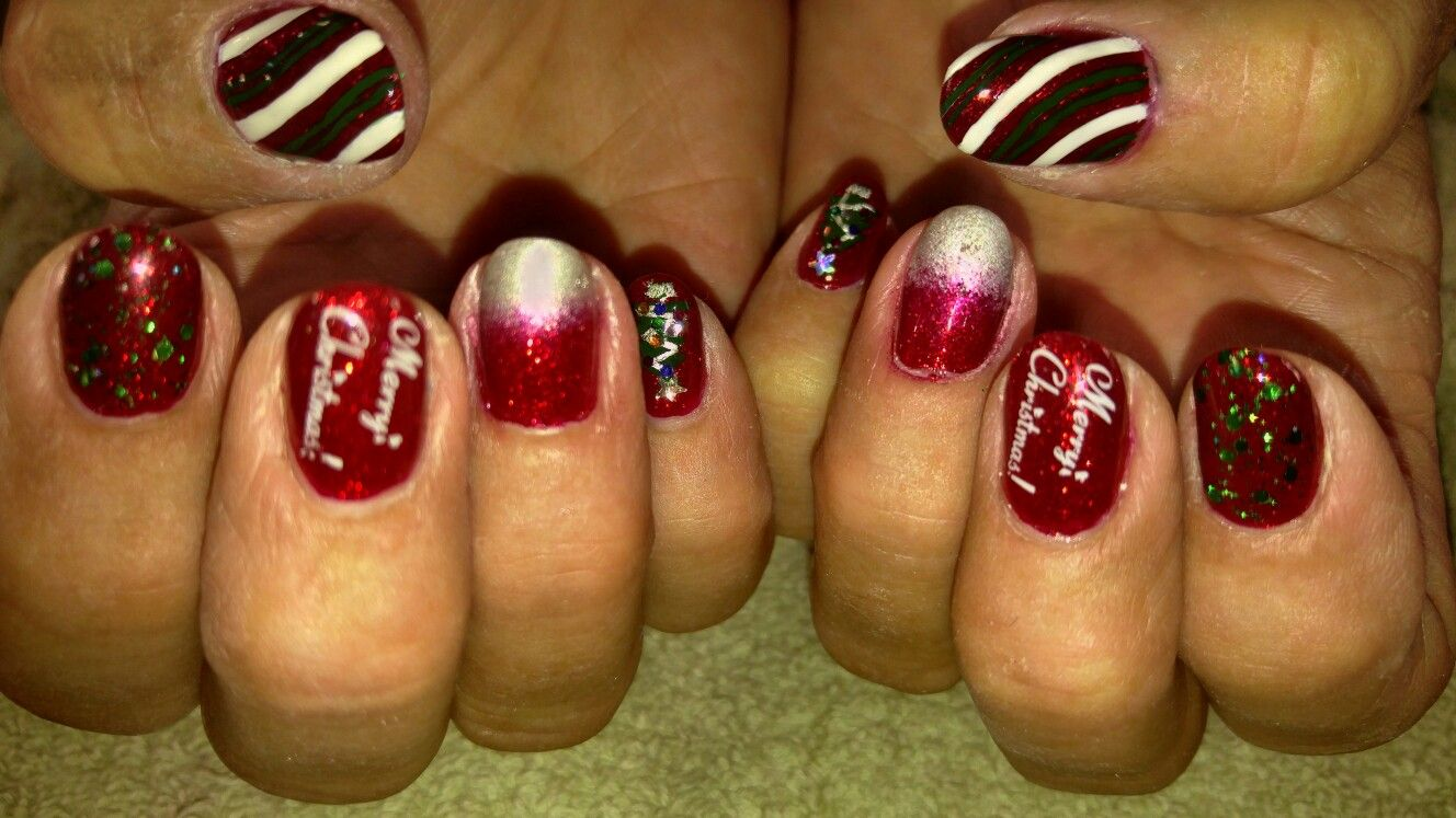 Christmas inspired nails acrylic nails with stamped nail art and