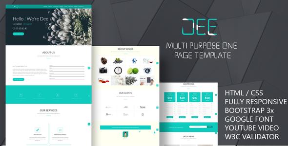 Dee Personal One Page multi color Portfolio Template | Template ...