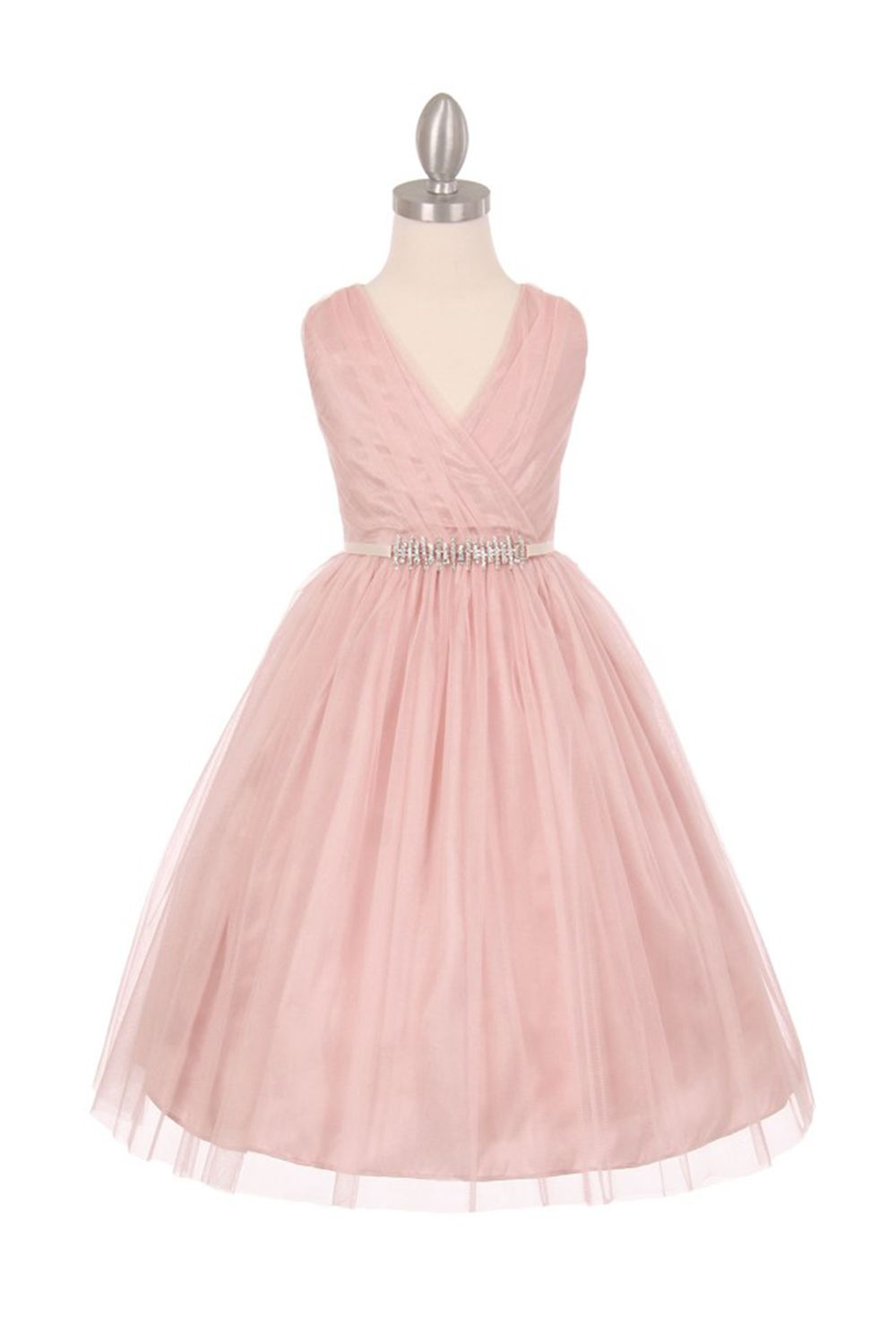 Blush Tulle V-Neck with Removable Rhinestone Grossgrain Tape Sash ...