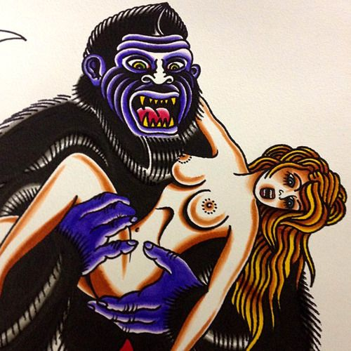 girl with gorilla traditional tattoo flash