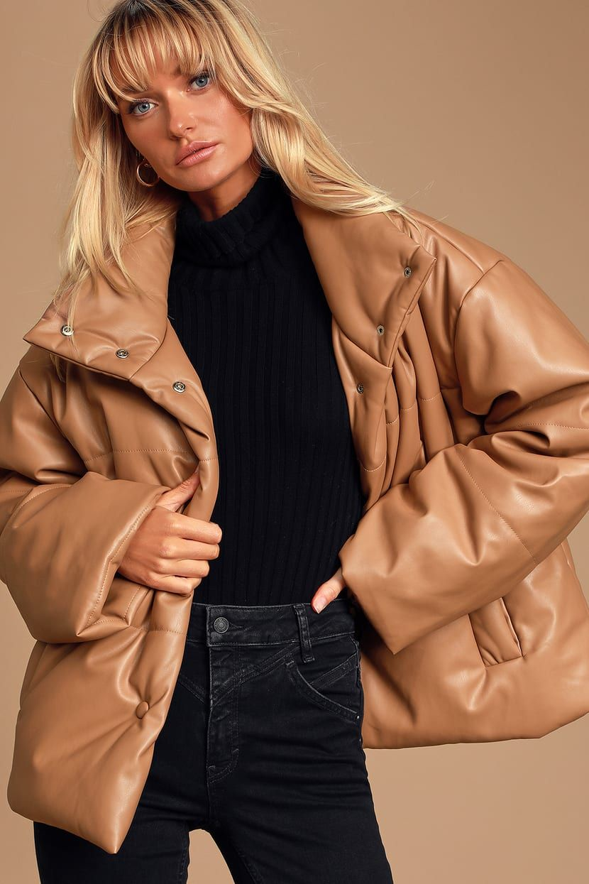 Weather Or Not Taupe Vegan Leather Puffer Jacket In 2021 Leather Puffer Jacket Brown Puffer Jacket Leather Jackets Women [ 1245 x 830 Pixel ]