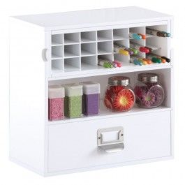Desktop Craft Organizer White Painted Finish Includes A