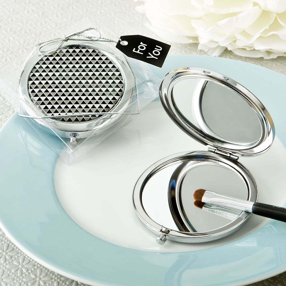 Modern Silver Graphic Design Compact Metal Mirror | Metal mirror ...