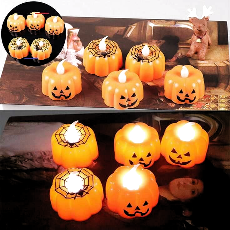 Photo of LED Light Halloween Pumpkin Light Flickering Flame Candle Special Party Decor J-…
