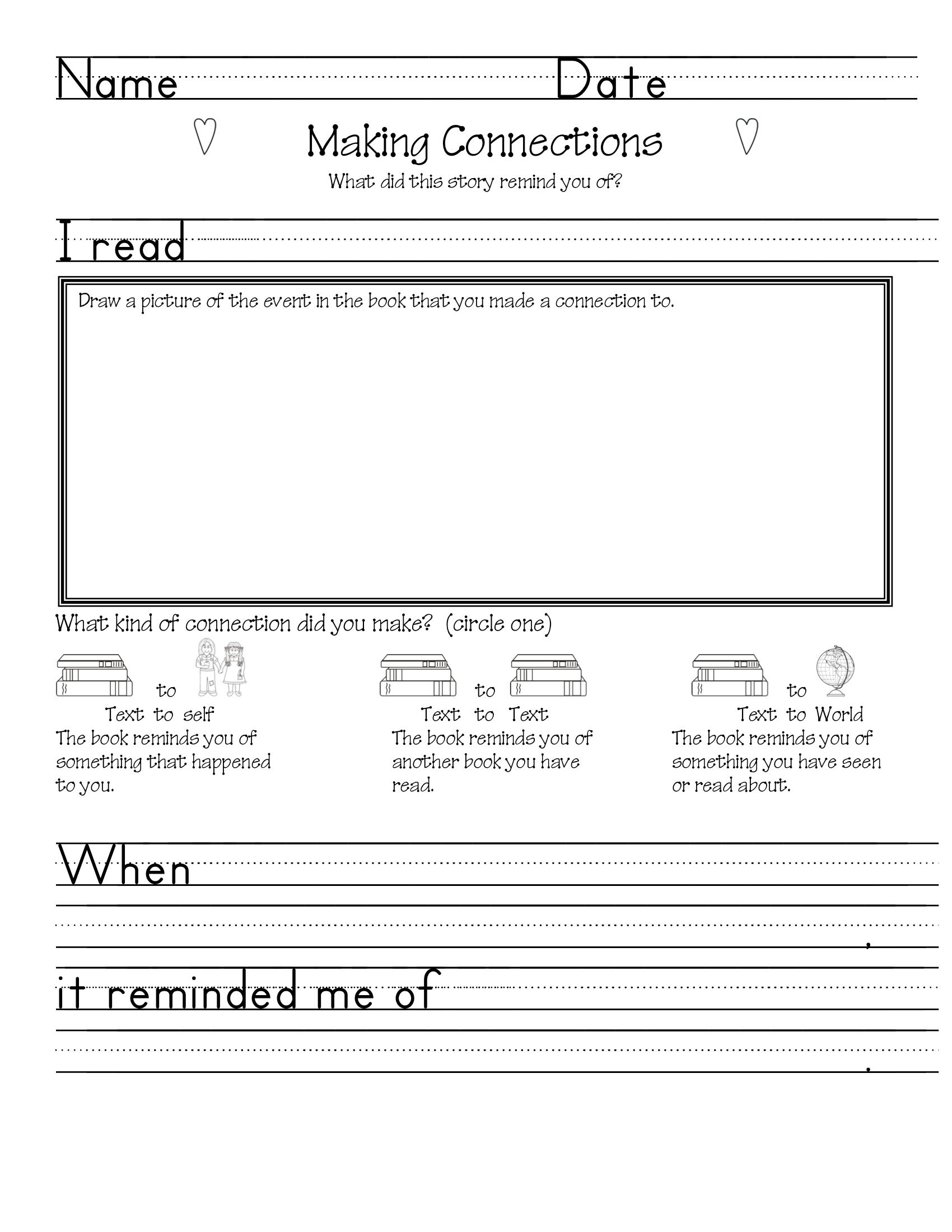 Making Connections Worksheet Text To World Text To Self Connection Reading Comprehension Strategies