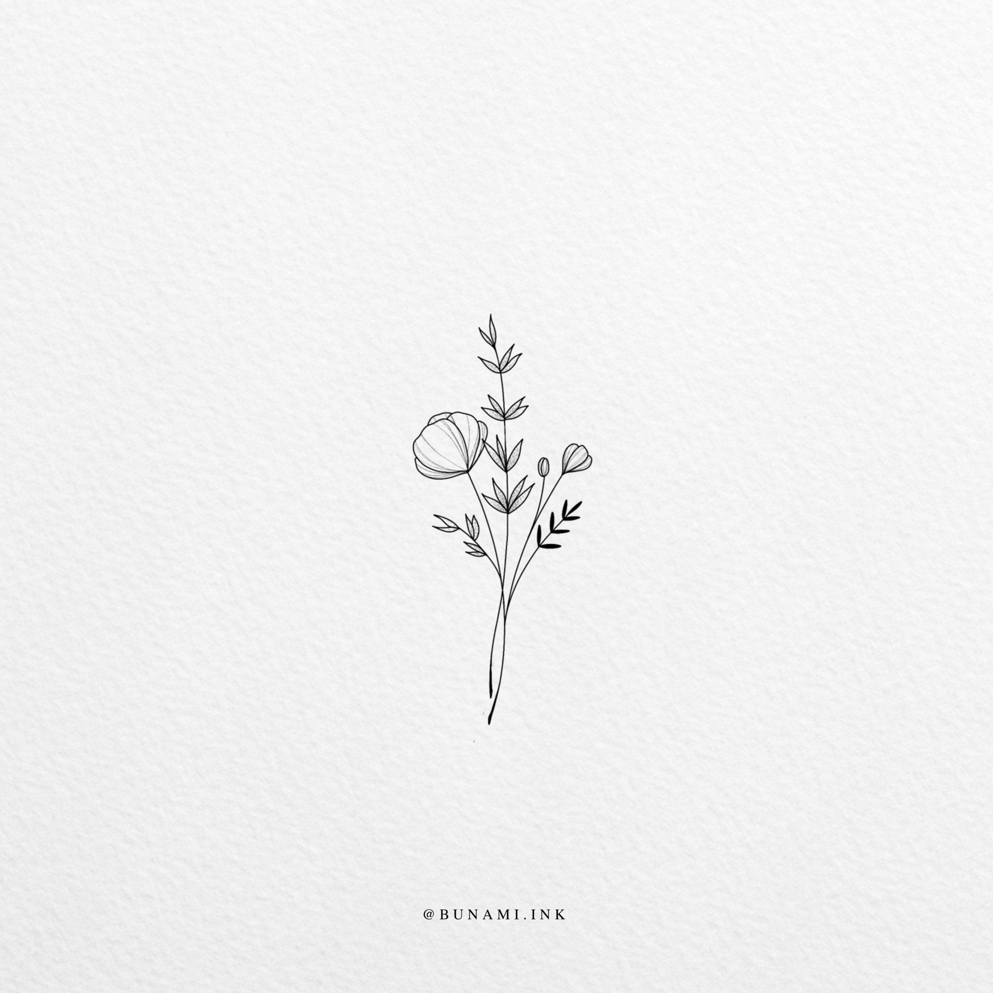 Photo of Small flowers and leaves (sold) – Bunami ink
