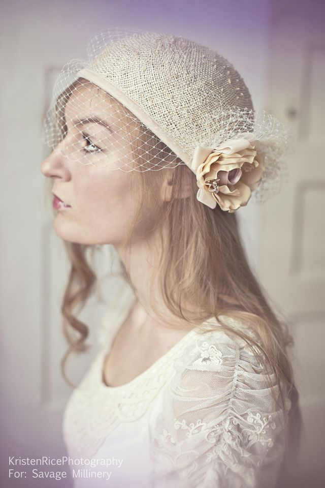 Vintage hair pieces by Savage Millinery in Buffalo, NY  Wedding Bridal Ivory White Feathers Fascinator cap