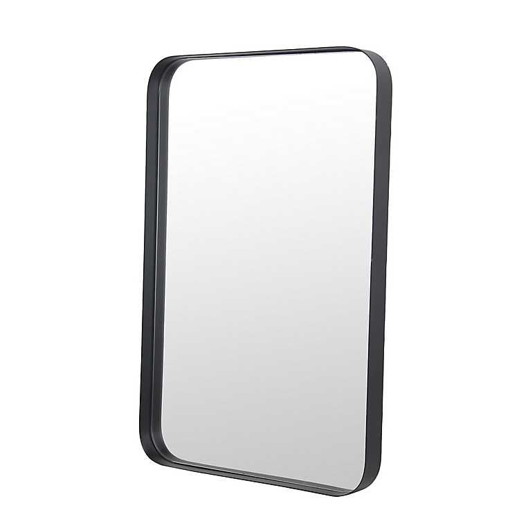 Black Rounded Rectangle Wall Mirror 16x24 In Kirklands Black Mirror Frame Black Bathroom Mirrors Metal Mirror