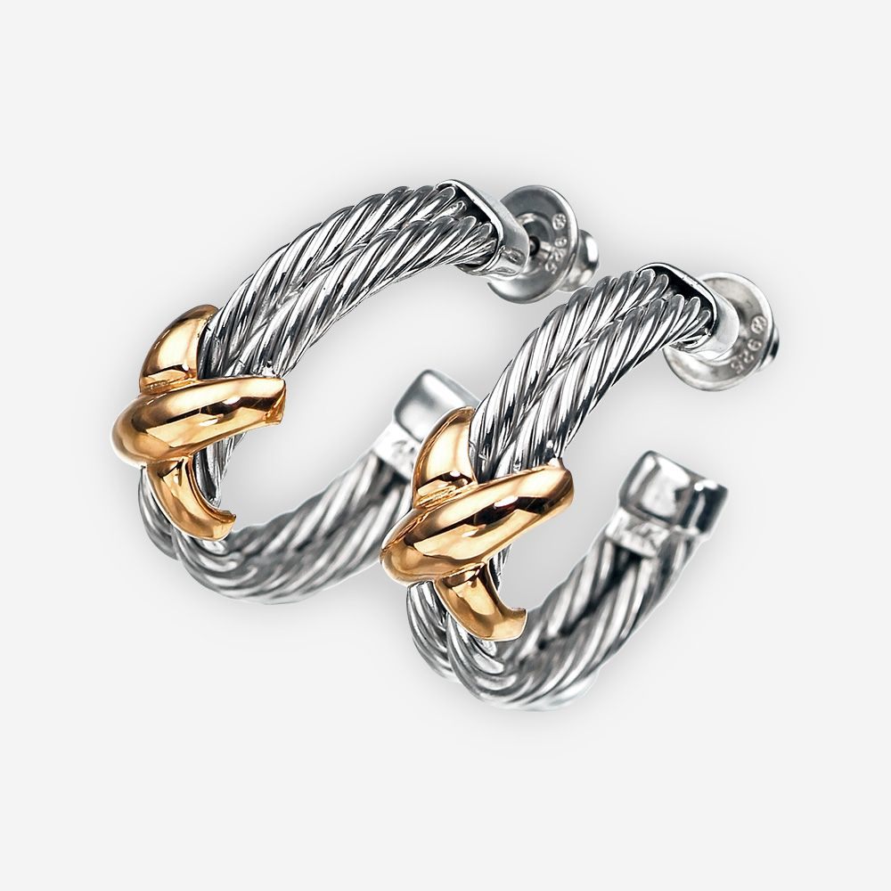 Twisted cable hoop earrings featuring two hemispheric elements with sterling silver twisted cable pattern and a 14k gold crossed ligament in the center. https://zanfeldjewellery.com/wholesale/earrings/twisted-cable-hoop-earrings-silver-gold/