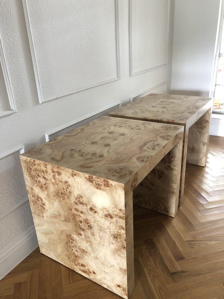 Ceh Label Marin Burl Wood Waterfall Side Table Furniture