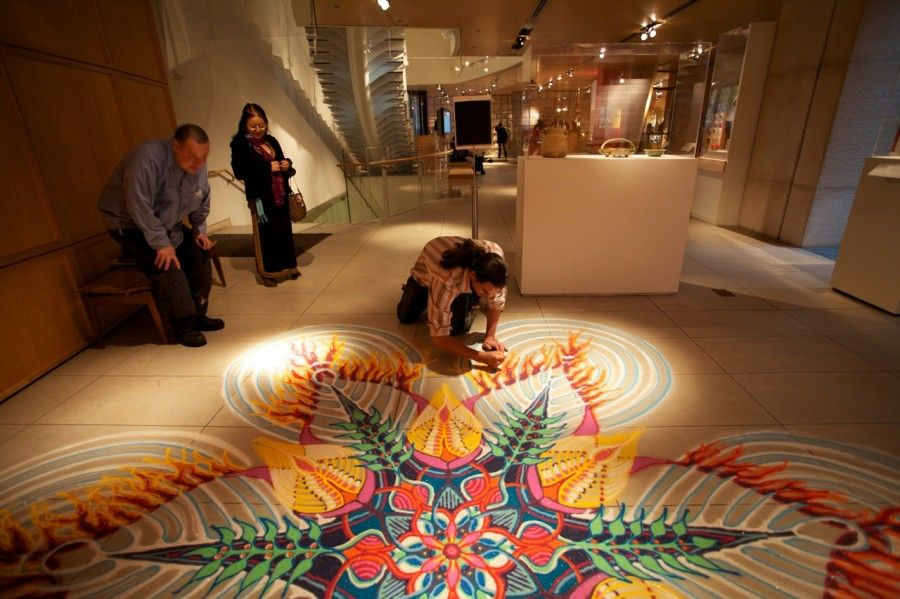 Incredible interior sand painting by artist joe mangrum design sand painter joe mangrum said his artwork is in keeping with cultural traditions from around the globe including tibetan mandalas african sand painting sciox Image collections