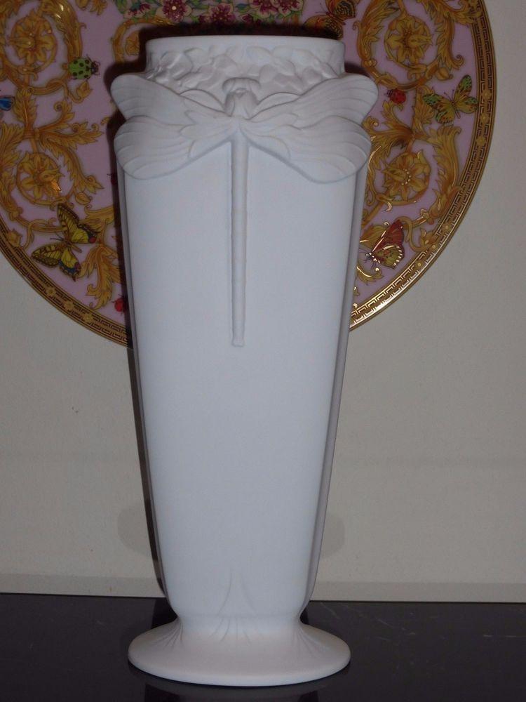 Christofle Bisque Biscuit Libellule Dragonfly White Ceramic Vase 12